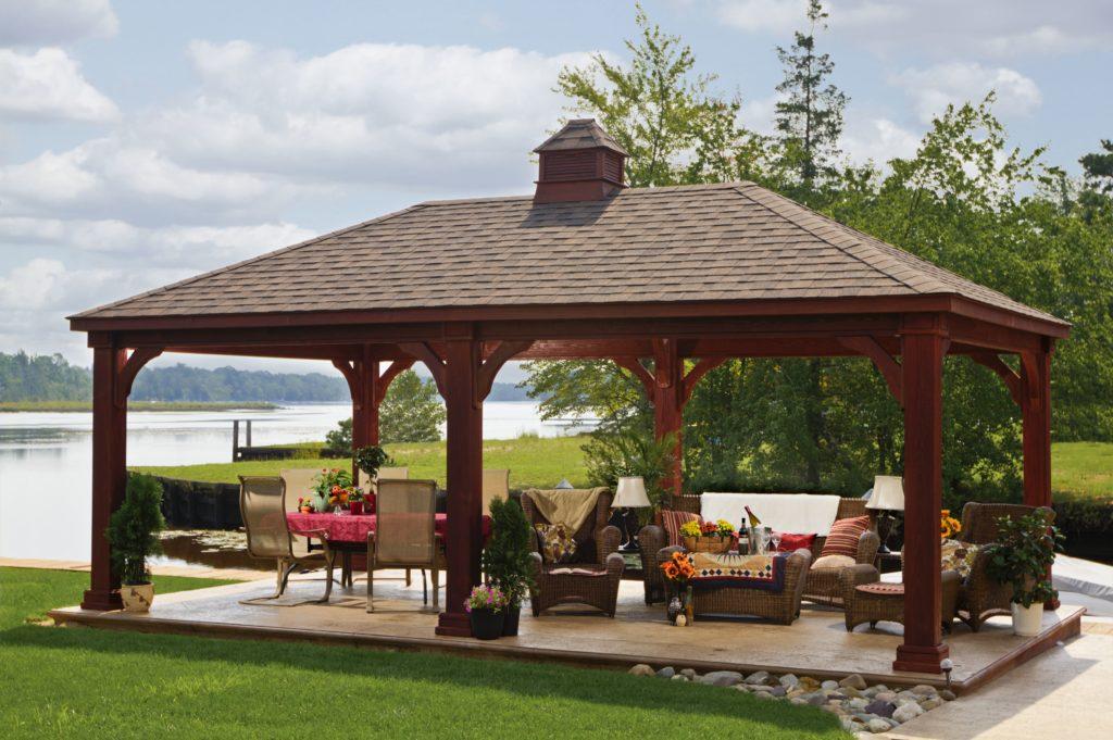 Traditional Wood Pavilion – Mahogany Stain – Cupola – Asphalt Shingles