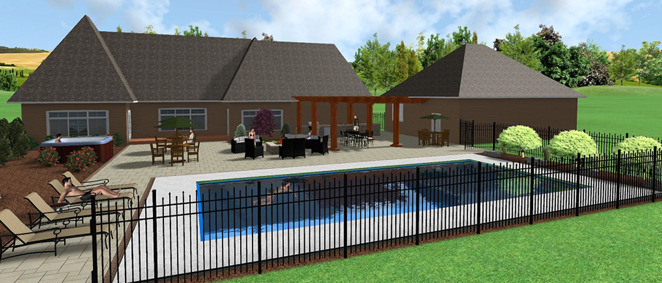 Photo of a computer program which uses software to create design layouts for landscaping. Image shows brown house with pool, fence, and shrubs in full color and 3-D.