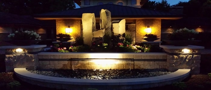 outdoor lighting with stone structure