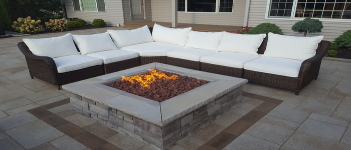 fire features with beautiful couch