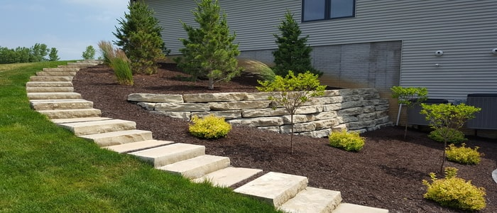 hardscaping stone steps and landscaping