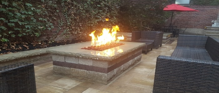 fire features benches with gas fire