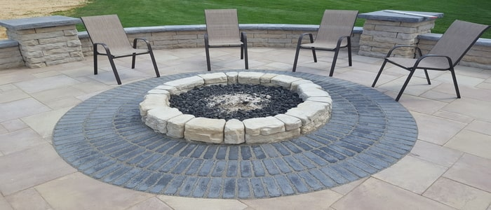 fire features circular ground level firepit