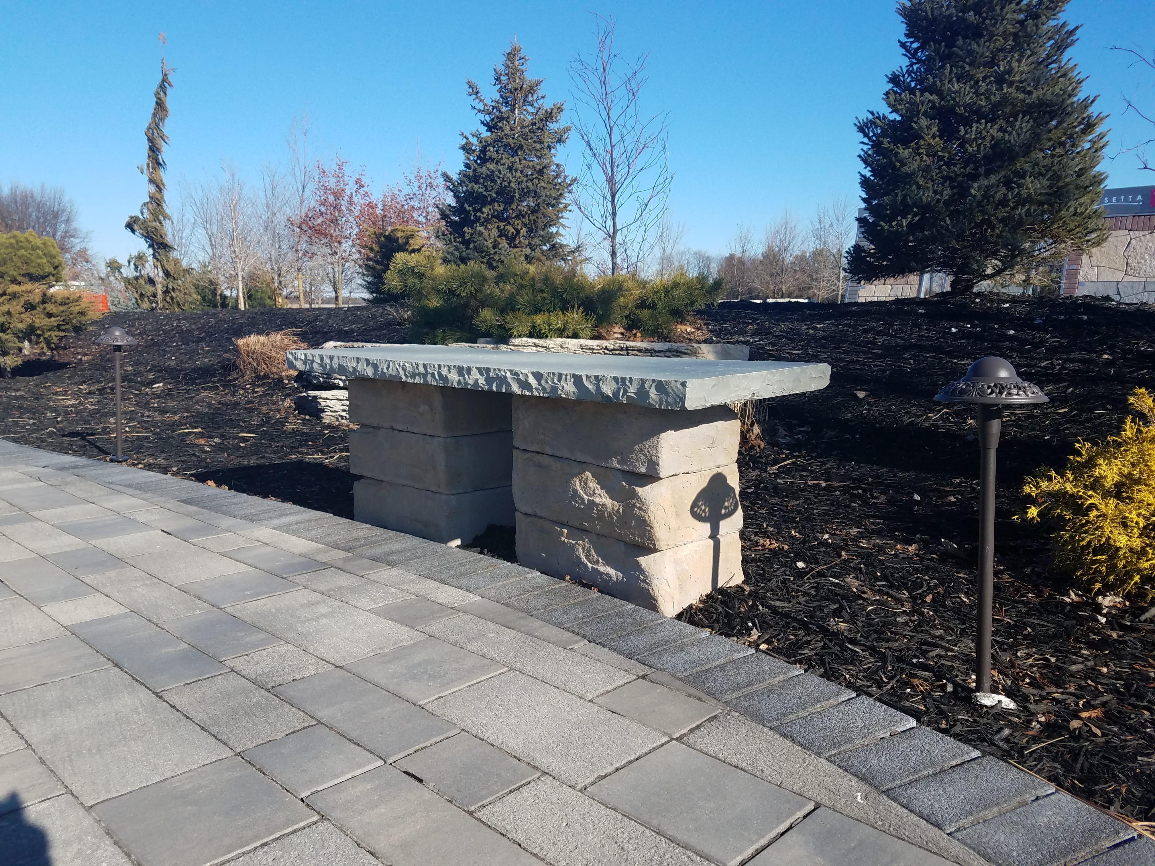 custom fabrication stone bench