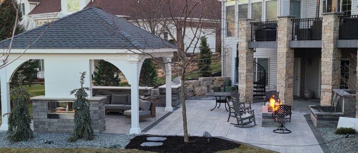 Pavilion, gas fire pit, water fountain, brick patio