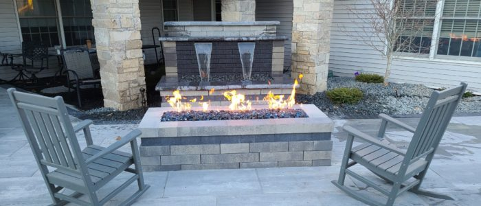 Water fountain and gas fire pit
